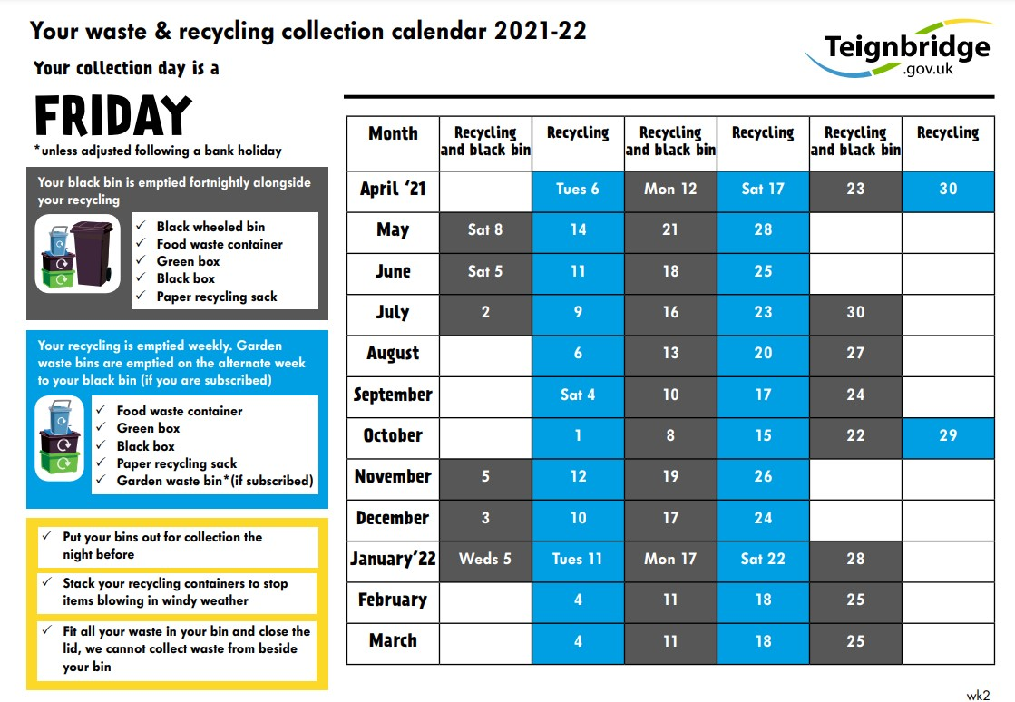 2021 Teignbridge Recycling Calendar